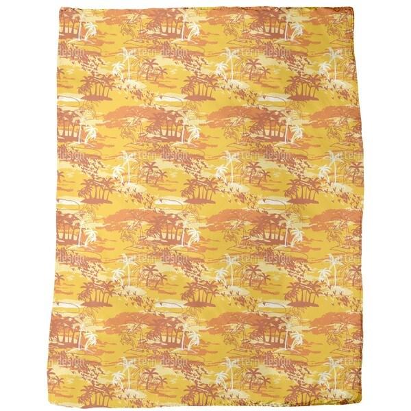 Paradise Island Yellow Fleece Blanket