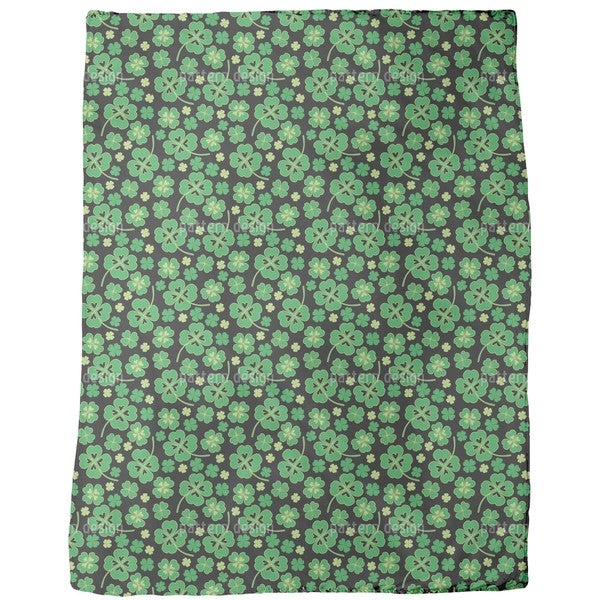 Lucky Clover on Black Fleece Blanket