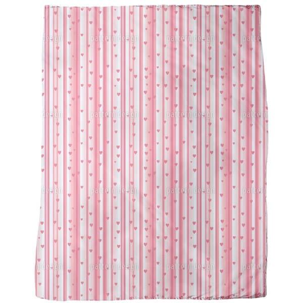 Romantic Hearts on Strips Fleece Blanket
