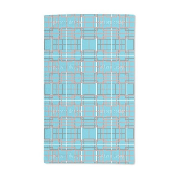 Asian Lattice Turquoise Hand Towel (Set of 2)