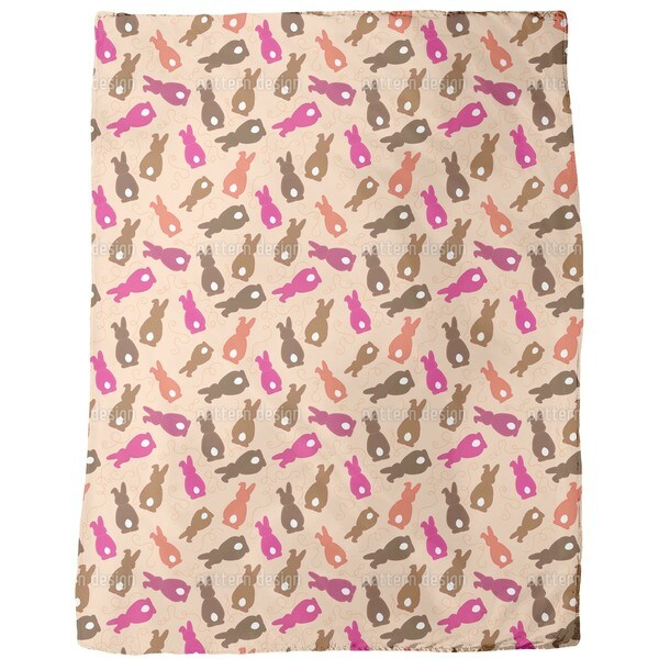 Bouncing Bunnies Pink Fleece Blanket