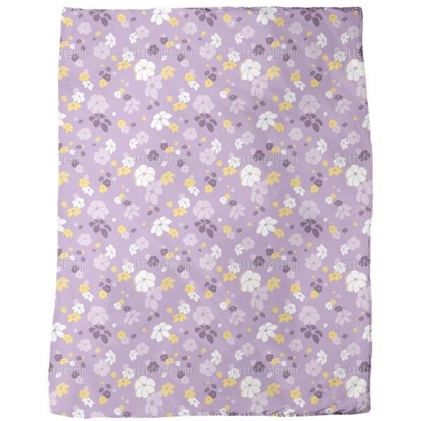 Lilac Flower Rain Fleece Blanket