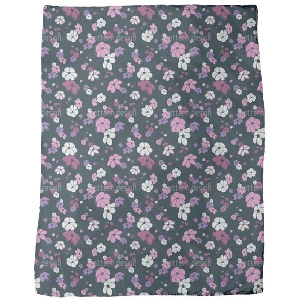 Pink Flower Rain Fleece Blanket