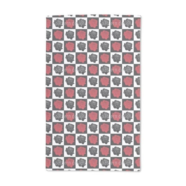 Chess Board With Roses Hand Towel (Set of 2)
