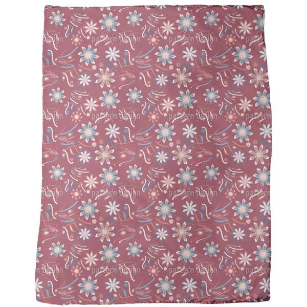 Flowers Dance Red Fleece Blanket
