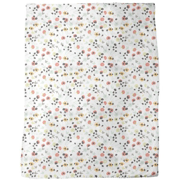 Mille Fleur White Fleece Blanket