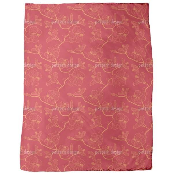 Hibiscus Dream in Red Fleece Blanket
