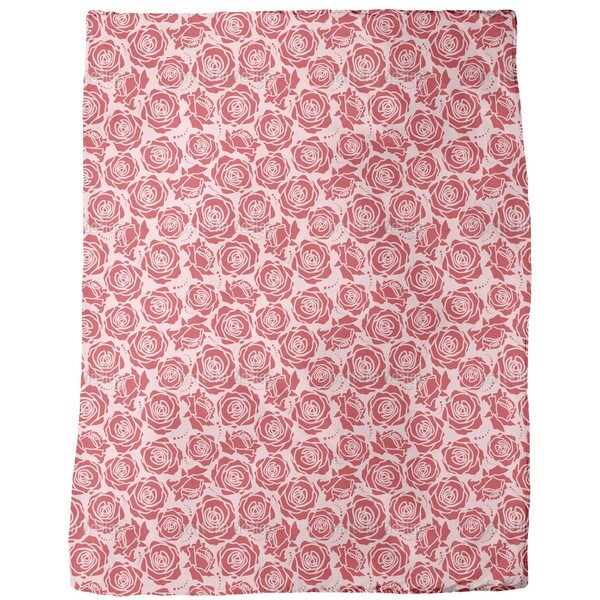 Rose Blossoms Rosey Fleece Blanket