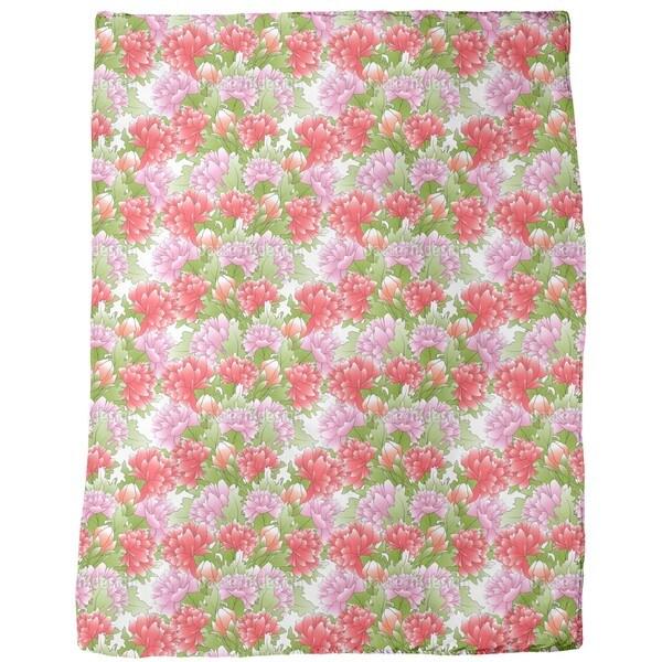 Bouquet of Peonies Fleece Blanket
