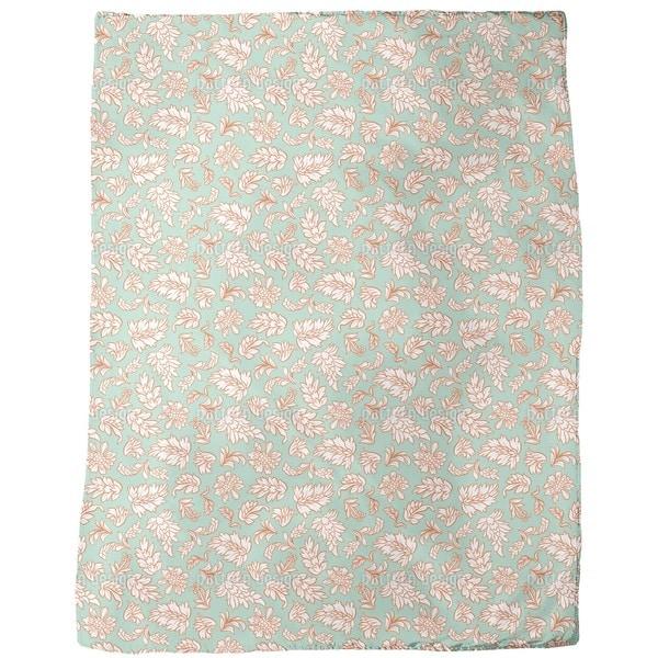 Leafage Mint Fleece Blanket