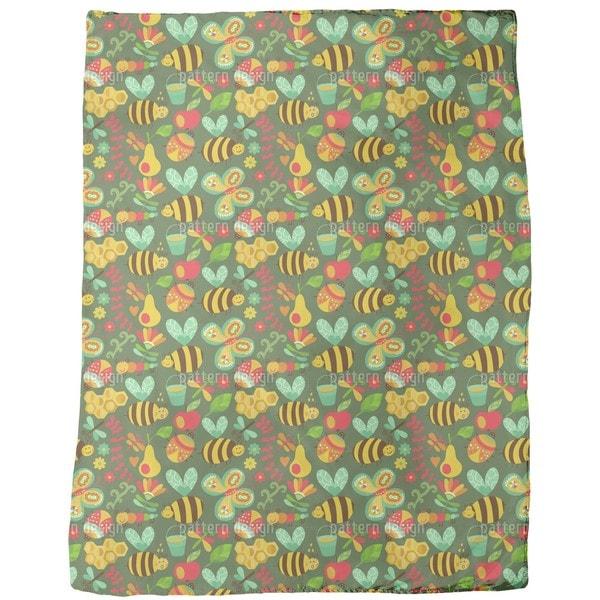 Busy Honey Bees in the Woods Fleece Blanket