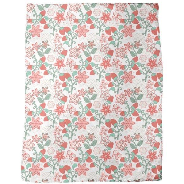 Sweet Strawberry Paradise Fleece Blanket