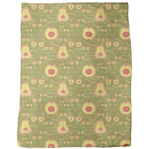 Fruit Garden Green Fleece Blanket