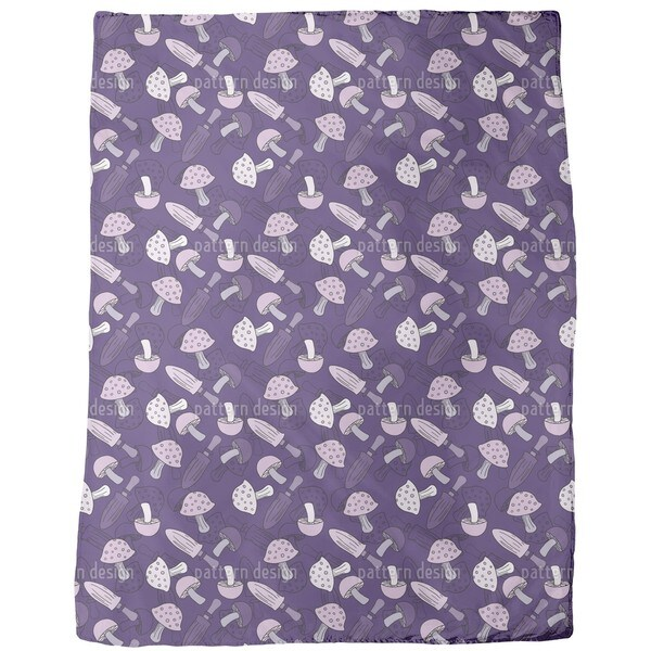 Lilac Mushroom Dream Fleece Blanket