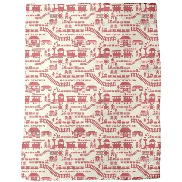 Railway Station Red Fleece Blanket
