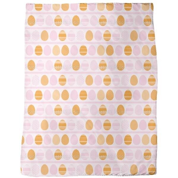 Pink Easter Egg Stripes Fleece Blanket