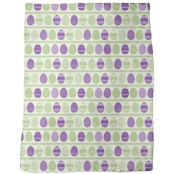 Green Easter Egg Stripes Fleece Blanket