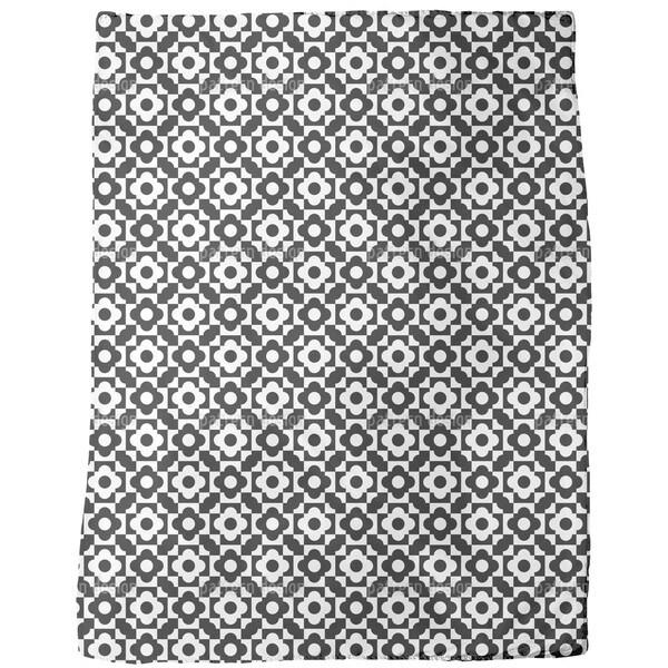 Geometric Flower Shapes Fleece Blanket