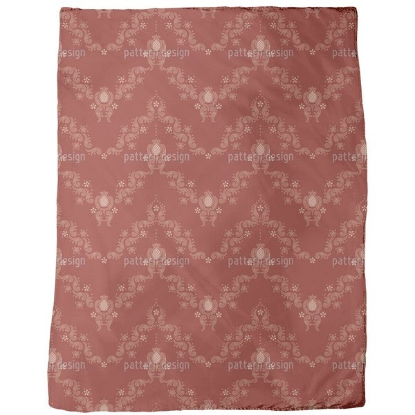 Floral Baroque Red Fleece Blanket