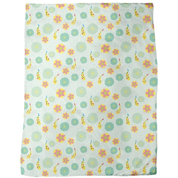 Fishes and Waterlilies Pattern Fleece Blanket