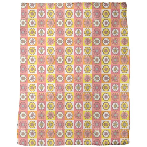 Bohemian Flower Patchwork Fleece Blanket