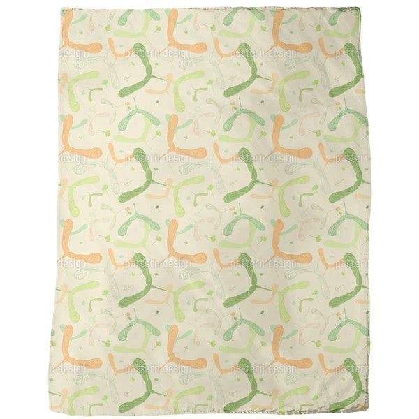 Maple Seed and Blossom Fleece Blanket