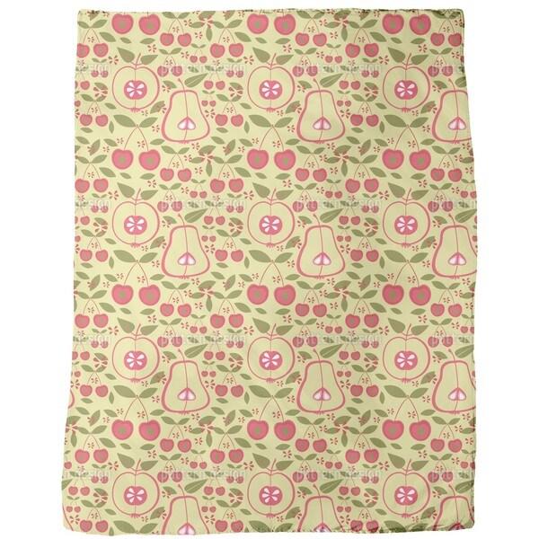 Fruit Garden Beige Fleece Blanket