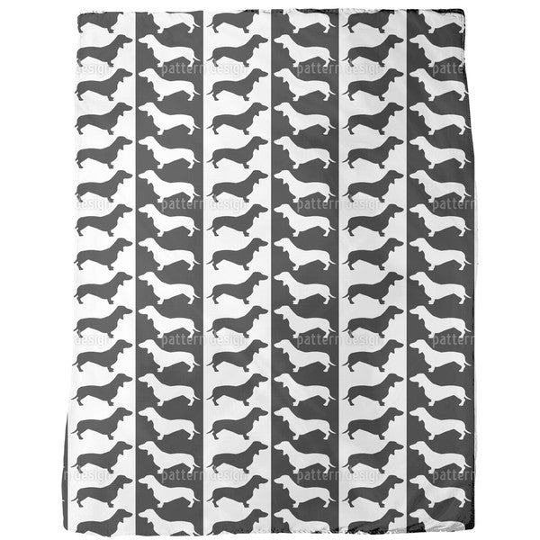 Dachshund Black and White Fleece Blanket