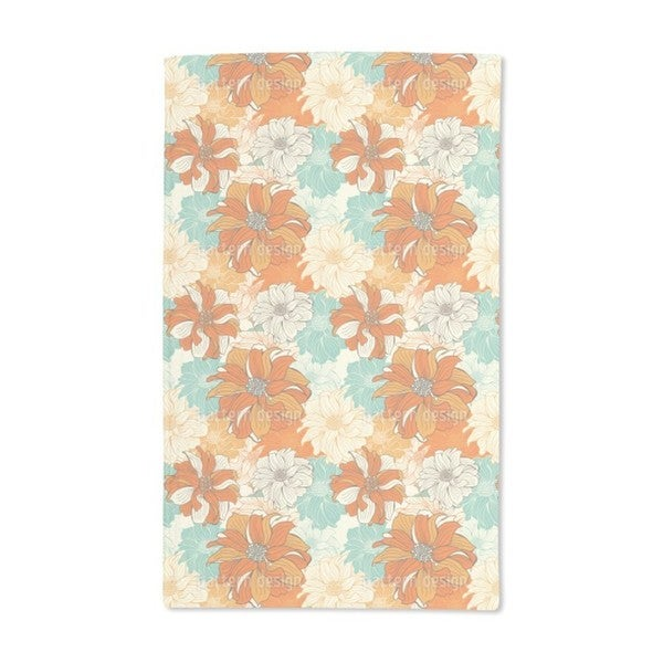Hand-Drawn Flowers of Dahlia Hand Towel (Set of 2)