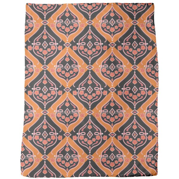 Folkloria Orange Fleece Blanket