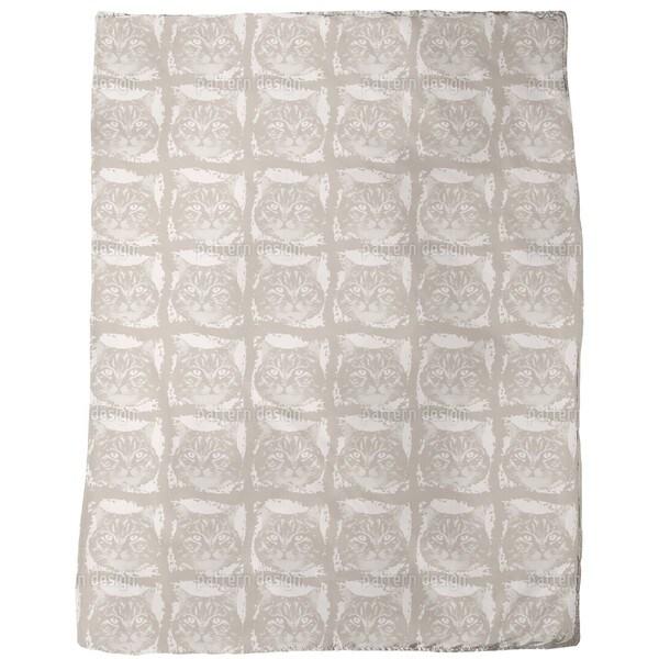 Kitty Minka Brown Fleece Blanket