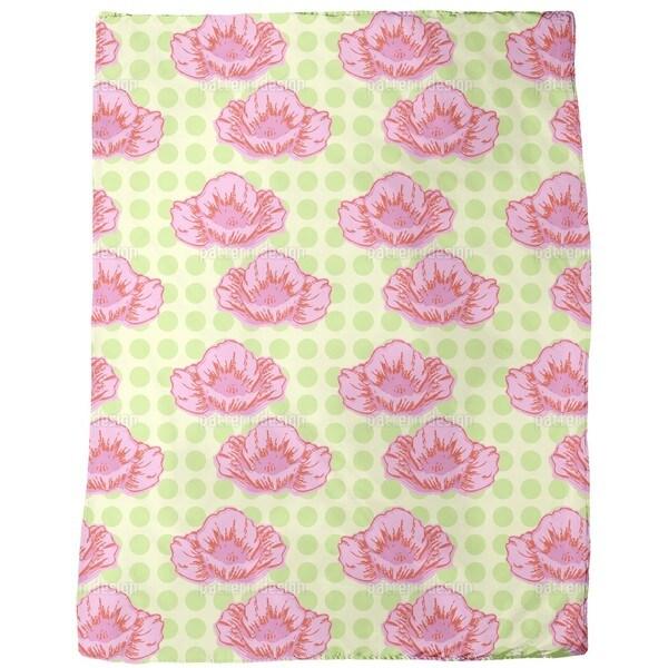 Poppies Like it Dotty Green Fleece Blanket