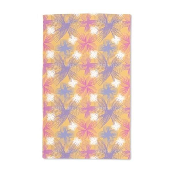 Spiral Flowers Saffron Hand Towel (Set of 2)