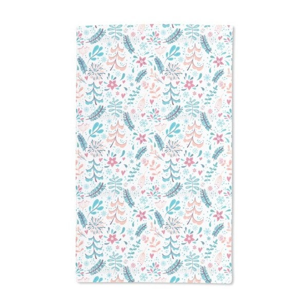 Winter Flowers and Snowflakes Hand Towel (Set of 2)