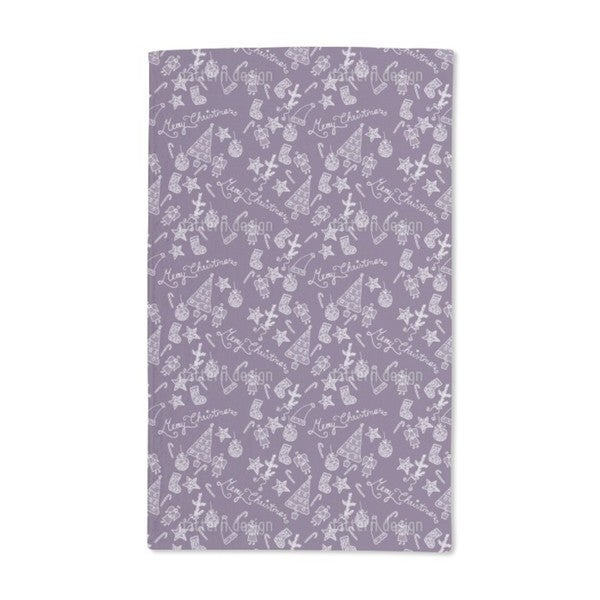 Merry Christmas in Lilac Hand Towel (Set of 2)