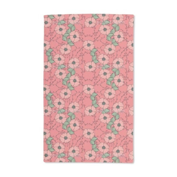 Red Flowers With Leaves Hand Towel (Set of 2)