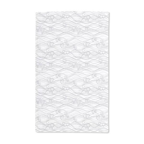 Heart Lengths White Hand Towel (Set of 2)