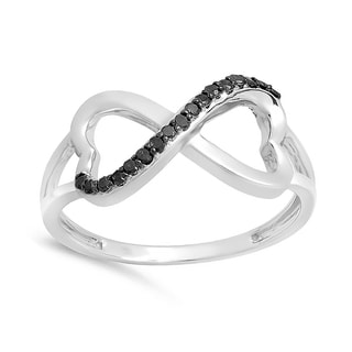 Elora 10k White Gold 1/6ct TDW Black Diamond Double Heart Infinity Promise Ring
