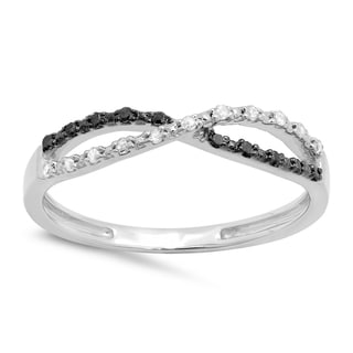 Sterling Silver 1/10ct TDW White and Black Diamond Infinity Swirl Wedding Band (I-J, I2-I3)