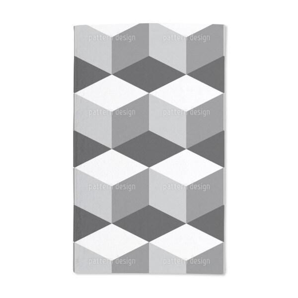 Cube on Black Hand Towel (Set of 2)