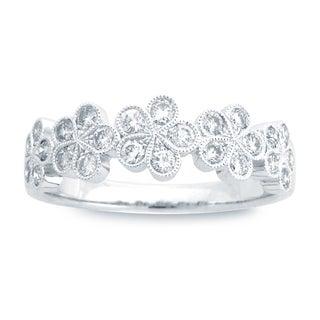 18k White Gold 1/2ct TDW Floral Diamond Fashion Band (G-H, SI1-SI2)