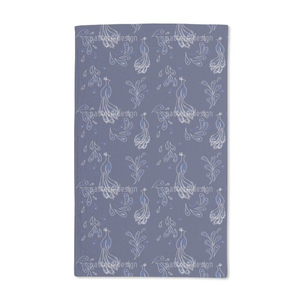 Peacock on Blue Hand Towel (Set of 2)