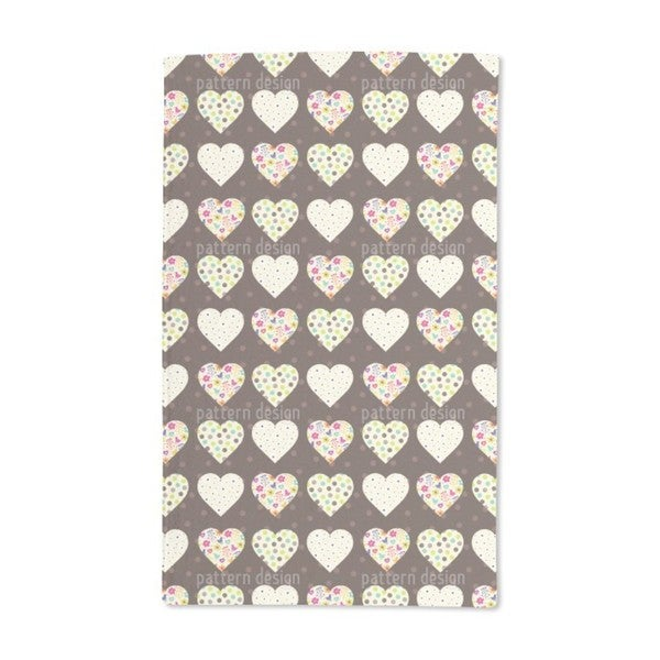 Patchwork Hearts on Polka Dots Hand Towel (Set of 2)