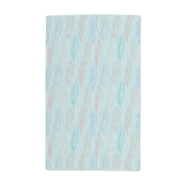Feathers Handdrawn Azur Hand Towel (Set of 2)