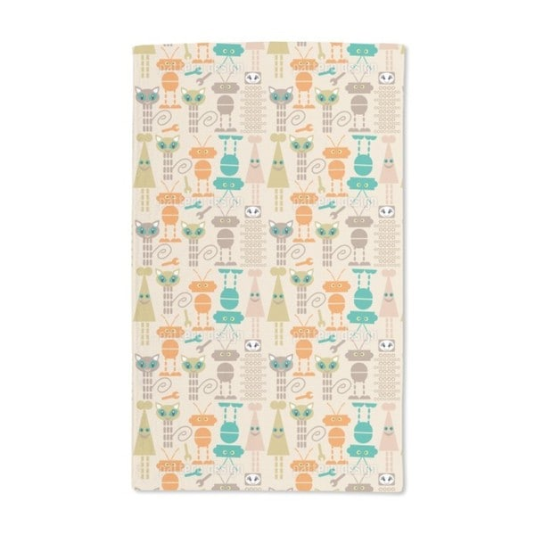 Robots and Cats Hand Towel (Set of 2)