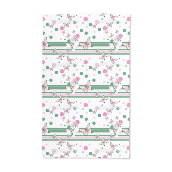 Butterflies Glance at Stripes Hand Towel (Set of 2)