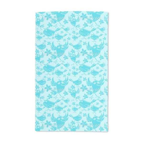 Songbird Sing Turquoise Hand Towel (Set of 2)