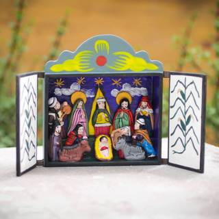 Handmade Painted Plywood 'Bethlehem in Lucanas' Retablo Diorama Nativity Scene (Peru)