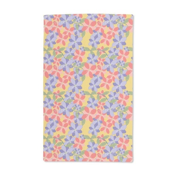 Petals and Leaves Yellow Hand Towel (Set of 2)