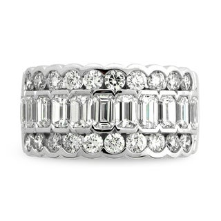 Azaro 18k White Gold 3ct TDW Channel-set Scalloped Diamond Fashion Band (G-H, SI1-SI2)